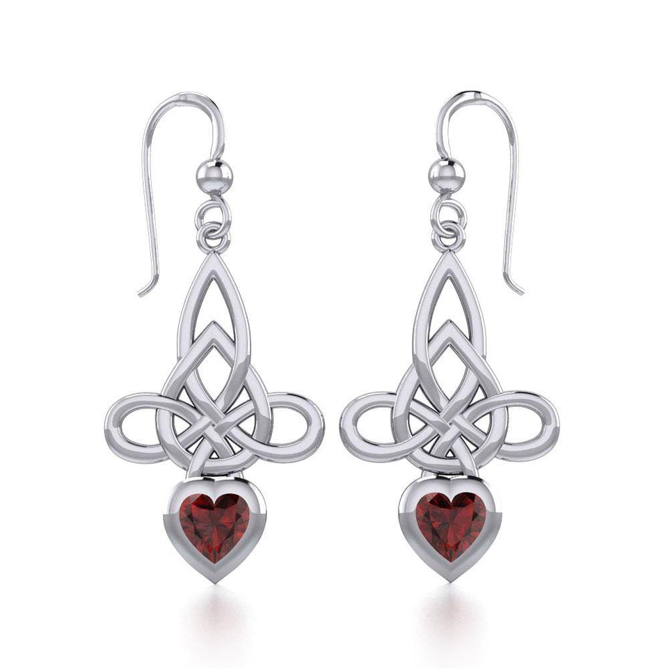 Celtic Witches Knot Silver Earrings with Heart Gemstone TER1830