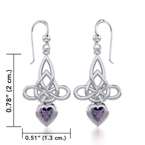 Celtic Witches Knot Silver Earrings with Heart Gemstone TER1830 peterstone.