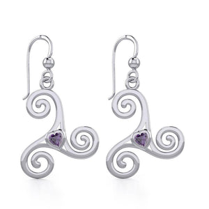 Celtic Spiral Triskele Silver Earrings with Heart Gemstone TER1831