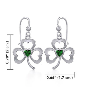 Silver Shamrock Earrings with Heart Gemstone TER1835