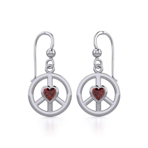 Peace Silver Earrings with Heart Gemstone TER1836 peterstone.