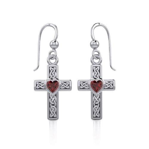Celtic Cross Silver Earrings with Heart Gemstone TER1841 peterstone.
