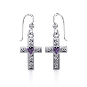 Celtic Cross Silver Earrings with Heart Gemstone TER1841