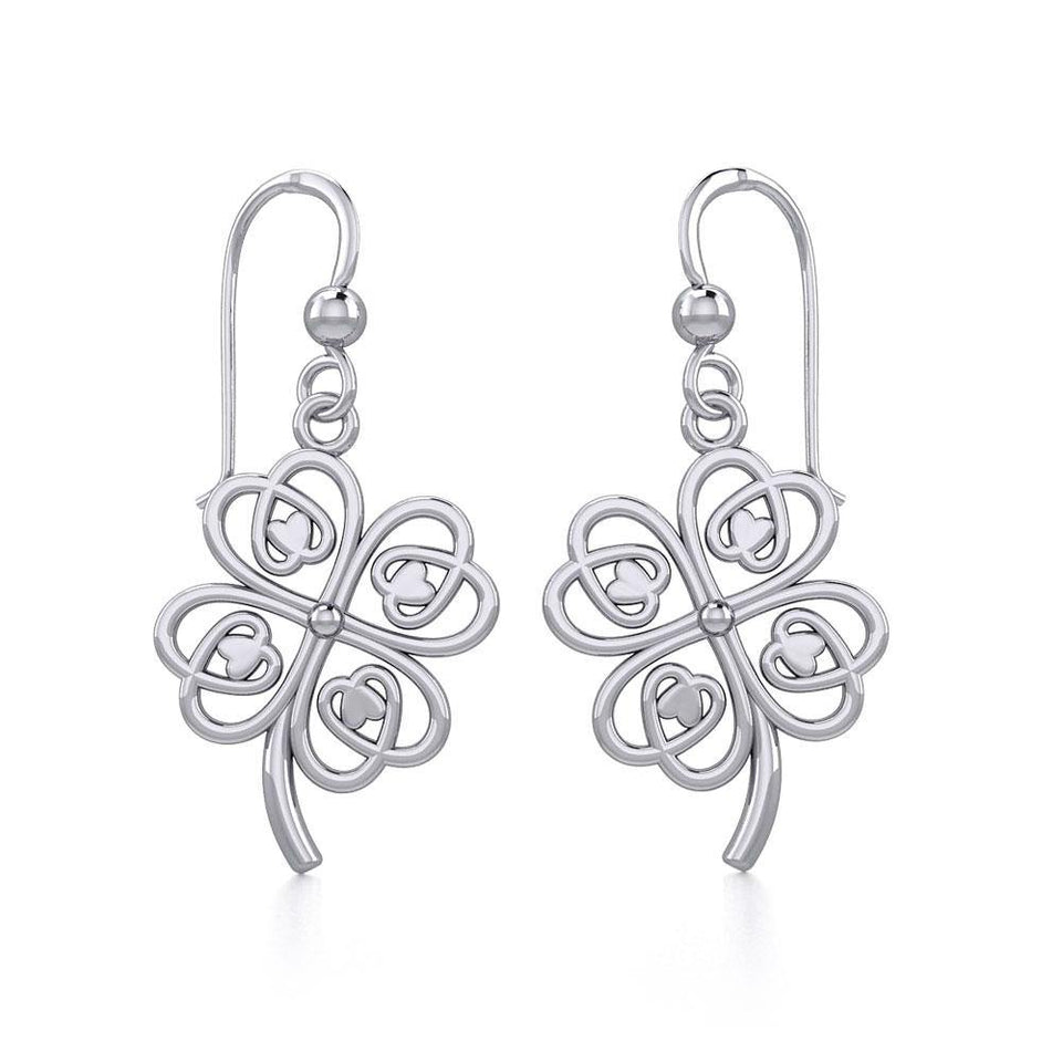 Lucky Four Leaf Clover Silver Earrings TER1842 peterstone.