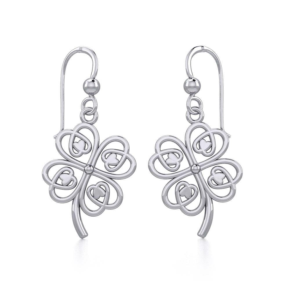 Lucky Four Leaf Clover Silver Earrings TER1842