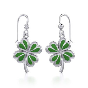 Lucky Four Leaf Clover Silver Earrings with Green enamel TER1843
