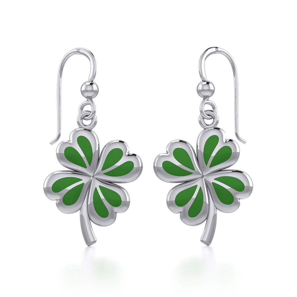 Lucky Four Leaf Clover Silver Earrings with Green enamel TER1843 peterstone.