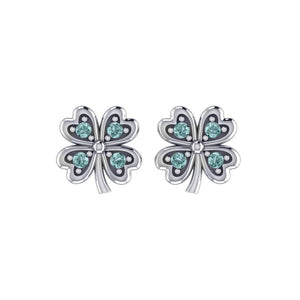 Lucky Four Leaf Clover Silver Post Earrings with Gemstone TER1844