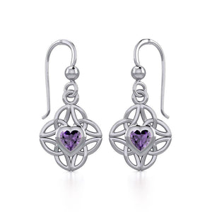 Celtic Knotwork Silver Earrings with Heart Gemstone TER1845
