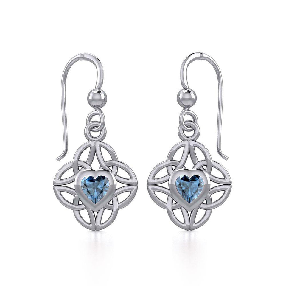 Celtic Knotwork Silver Earrings with Heart Gemstone TER1845 peterstone.