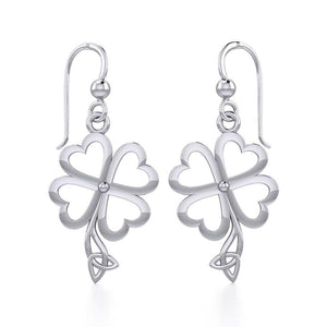 Four Leaf Clover with Trinity Knot Silver Earrings TER1848