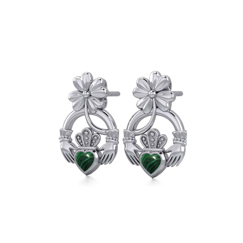 Lucky Four Leaf Clover on Claddagh Silver Post Earrings with stone TER1849