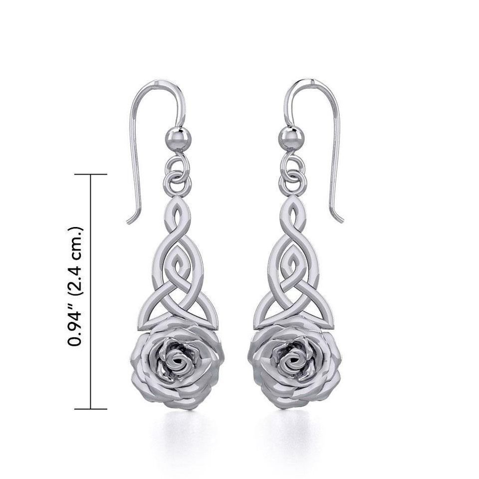 Celtic Trinity Rose Silver Earrings TER1851 peterstone.
