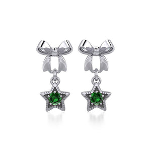 Ribbon with Dangling Gemstone Star Silver Post Earrings TER1854 peterstone.