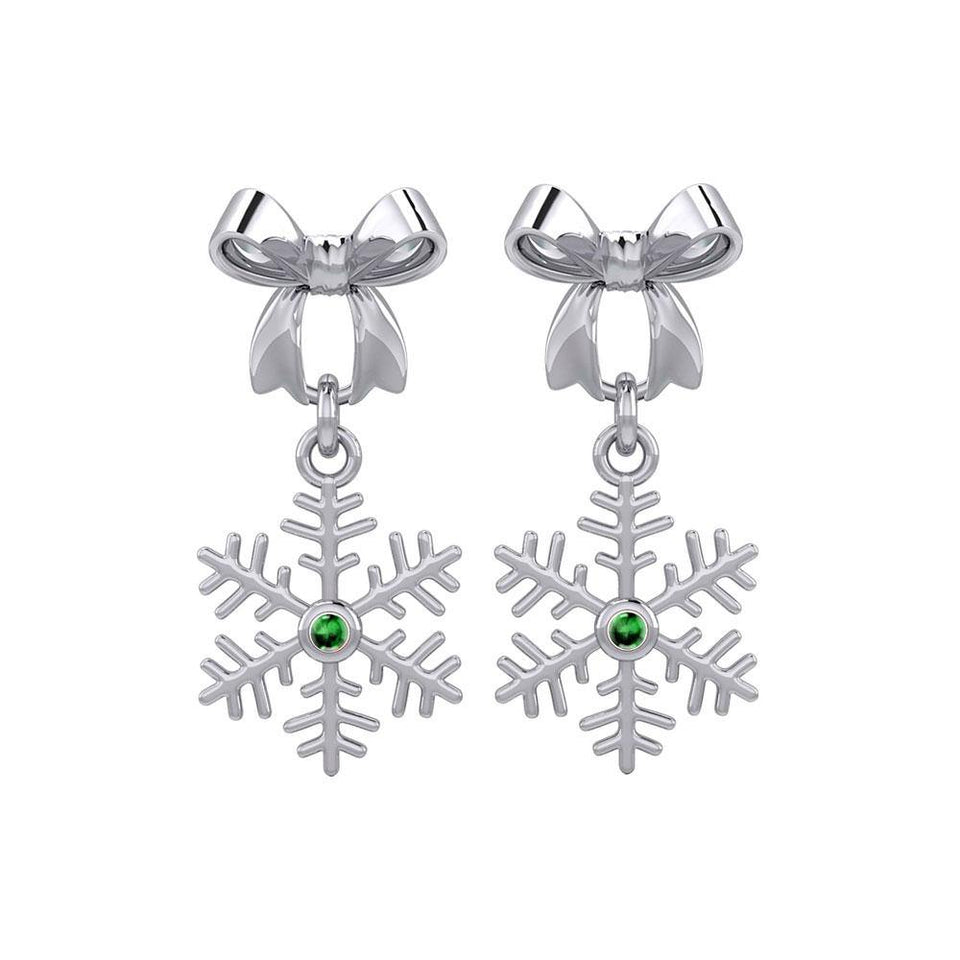 Ribbon with Dangling Gemstone Snowflake Silver Post Earrings TER1855 peterstone.