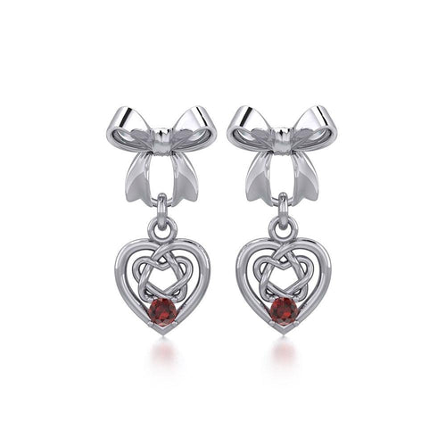 Ribbon with Dangling Gemstone Celtic Heart Silver Post Earrings TER1857 peterstone.