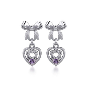 Ribbon with Dangling Gemstone Celtic Heart Silver Post Earrings TER1857