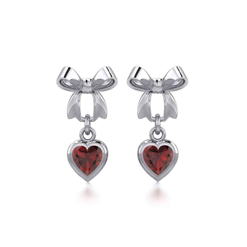 Ribbon with Dangling Gemstone Heart Silver Post Earrings TER1858 peterstone.
