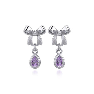Ribbon with Dangling Teardrop Gemstone Silver Post Earrings TER1859 peterstone.