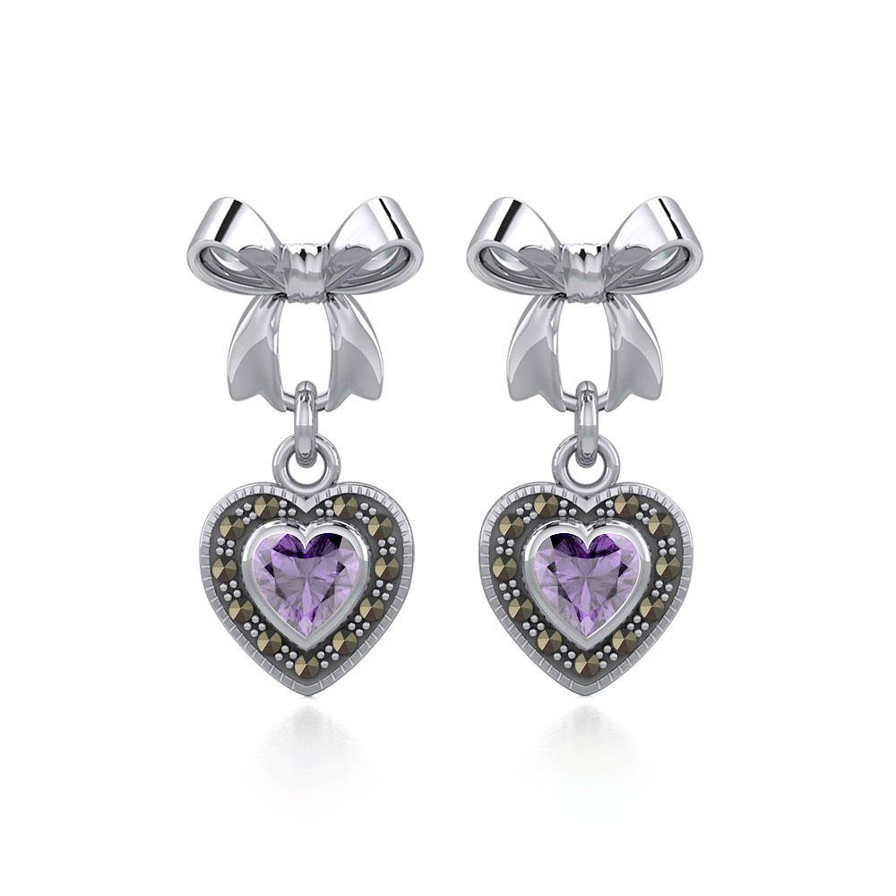 Ribbon with Dangling Marcasite Heart Gemstone Silver Post Earrings TER1860