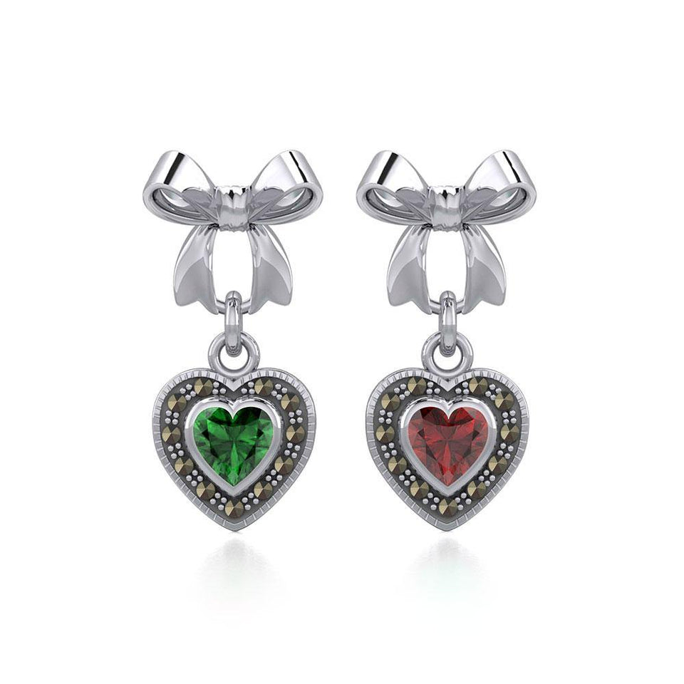 Ribbon with Dangling Marcasite Heart Gemstone Silver Post Earrings TER1860 peterstone.