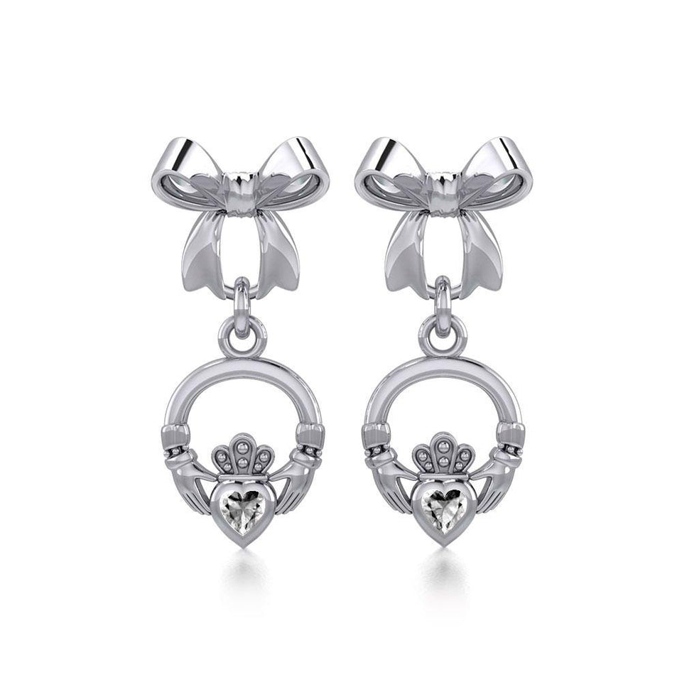 Ribbon with Dangling Gemstone Claddagh Silver Post Earrings TER1861 peterstone.