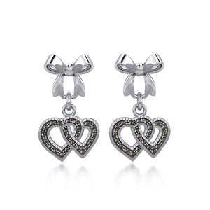 Ribbon with Dangling Marcasite Double Heart Silver Post Earrings TER1862