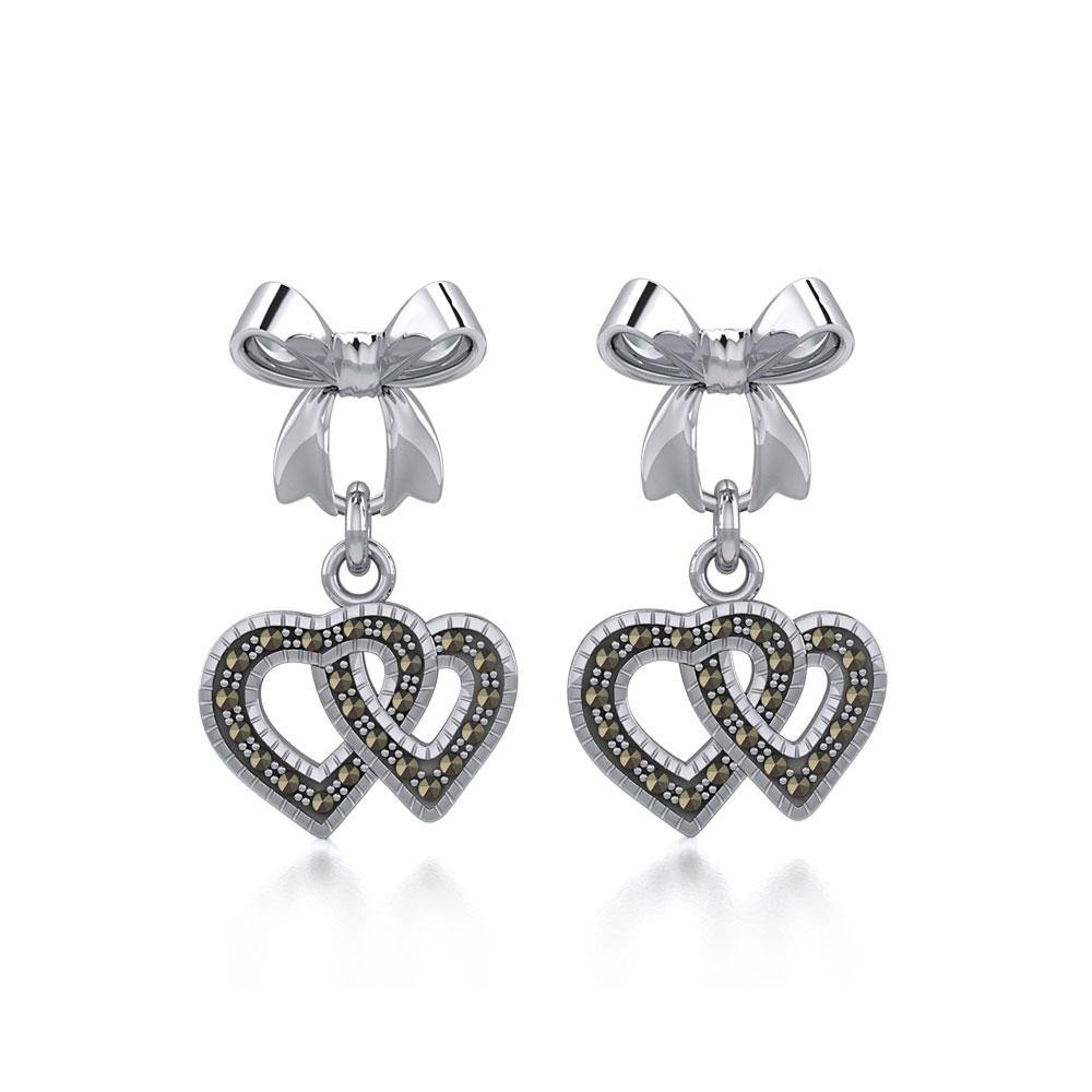 Ribbon with Dangling Marcasite Double Heart Silver Post Earrings TER1862 peterstone.