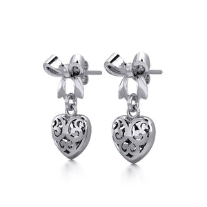 Ribbon with Dangling Filigree Heart Silver Post Earrings TER1863 peterstone.