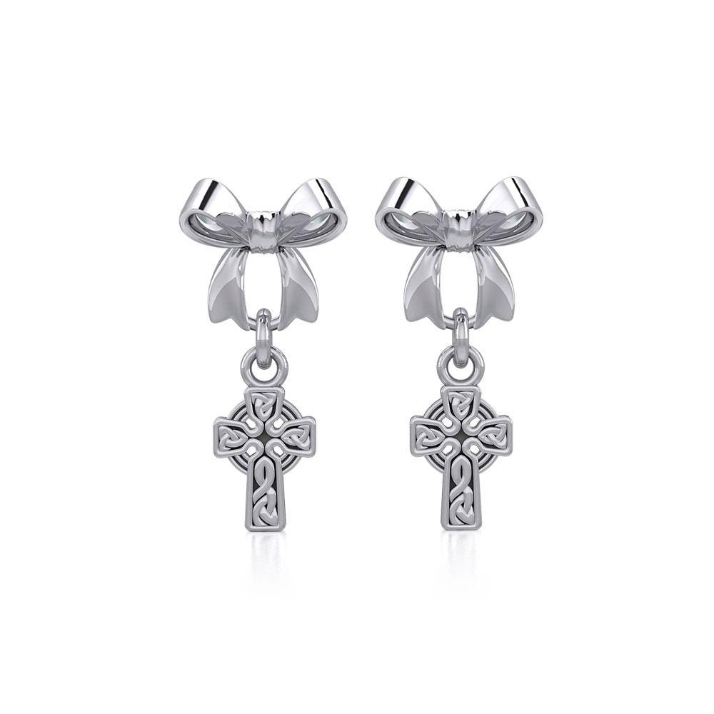 Ribbon with Dangling Celtic Cross Silver Post Earrings TER1864