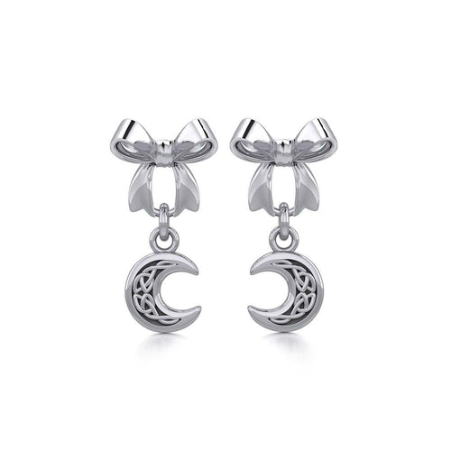 Ribbon with Dangling Celtic Crescent Moon Silver Post Earrings TER1865 peterstone.
