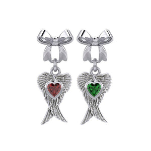 Ribbon with Dangling Double Angel Gemstone Wings Silver Post Earrings TER1866 peterstone.