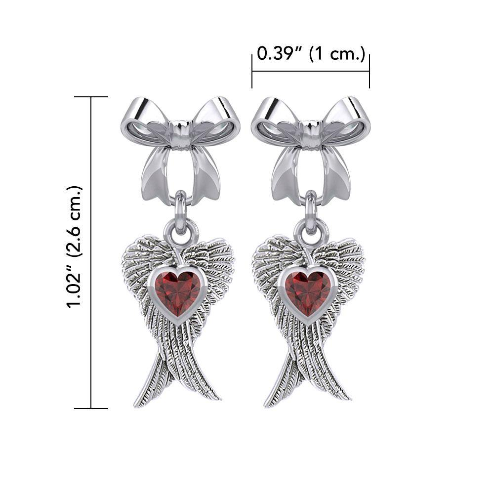 Ribbon with Dangling Double Angel Gemstone Wings Silver Post Earrings TER1866