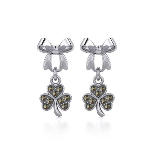 Ribbon with Dangling Marcasite Lucky Shamrock Clover Silver Post Earrings TER1867 peterstone.