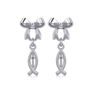 Ribbon with Dangling Christian Fish Silver Post Earrings TER1869