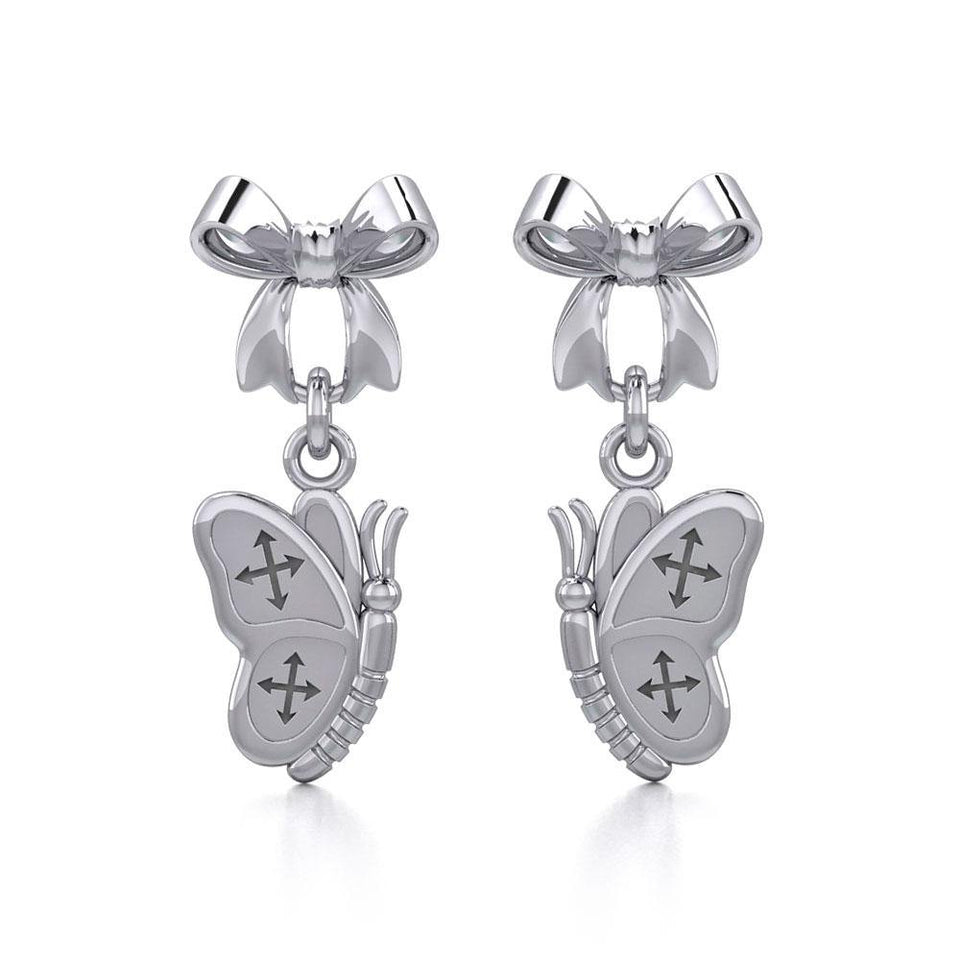 Ribbon with Dangling Butterfly Silver Post Earrings TER1870