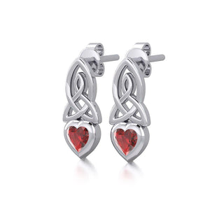 Celtic Heart Silver Post Earrings with Gemstone TER1871