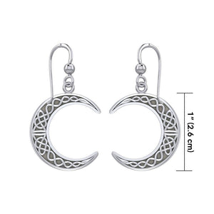 Large Celtic Crescent Moon Silver Earrings TER1879 peterstone.