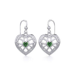 Flower in Heart Silver Earrings with Gemstone TER1880 peterstone.