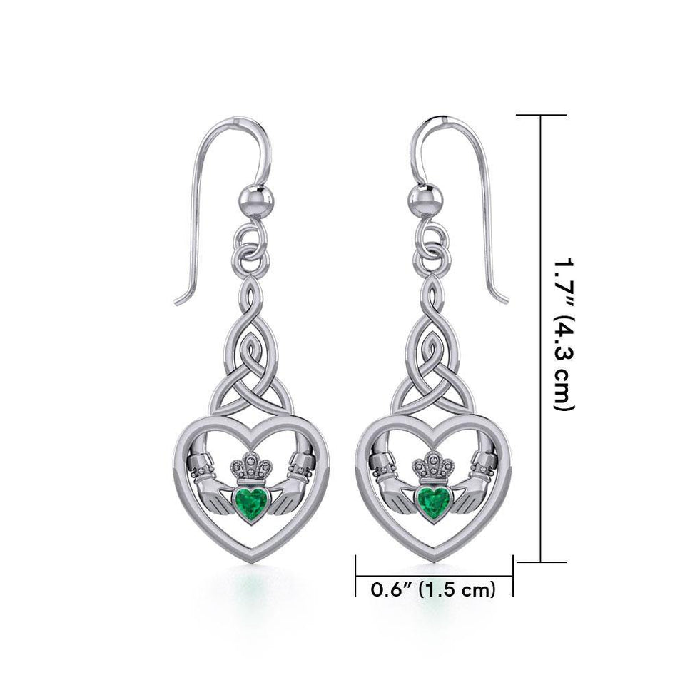Heart Claddagh with Celtic Trinity Knot Silver Earrings with Gemstone TER1882 peterstone.