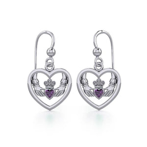 Claddagh in Heart Silver Earrings with Gemstone TER1883 peterstone.