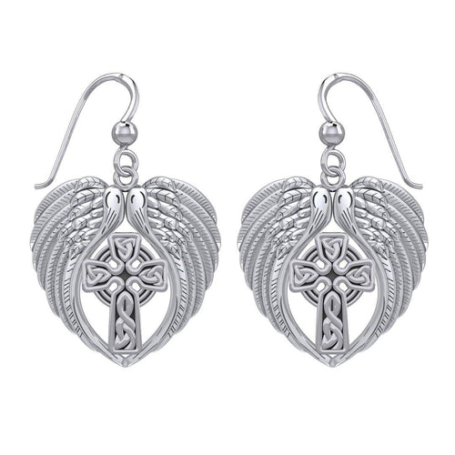 Feel the Tranquil in Angels Wings Sterling Silver Earrings with Celtic Cross TER1893 peterstone.