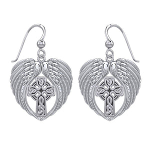 Feel the Tranquil in Angels Wings Sterling Silver Earrings with Celtic Cross TER1893