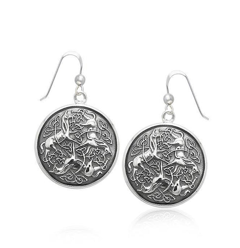 Celtic Triple Horses Silver Earrings TER1899 peterstone.