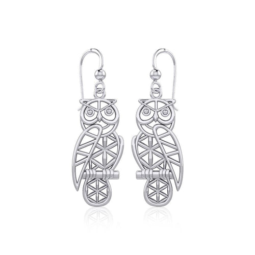 Silver Flower of Life Owl Earrings TER1905 peterstone.