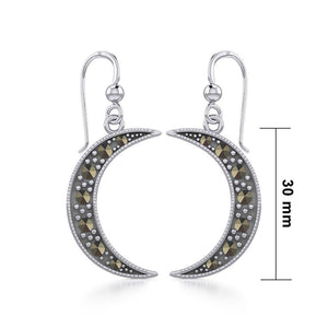 Crescent Moon Sterling Silver Earrings with Marcasite TER1906 peterstone.
