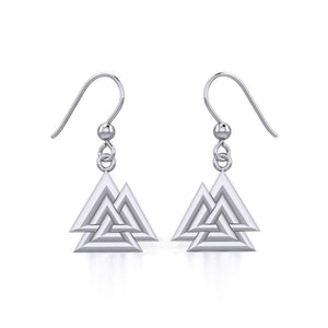 Sterling Silver Viking Valknut Earrings Jewelry TER1910 peterstone.