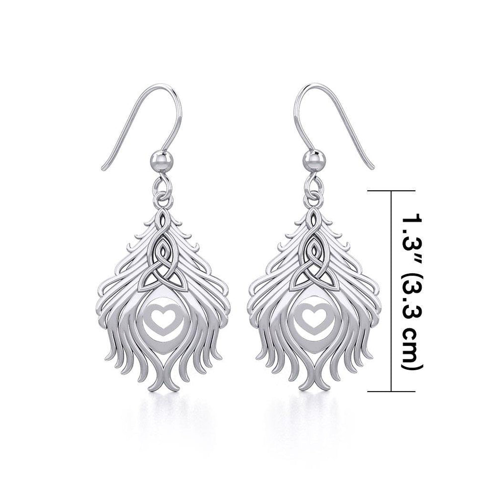 Celtic Peacock Tail Silver Earrings TER1915 peterstone.