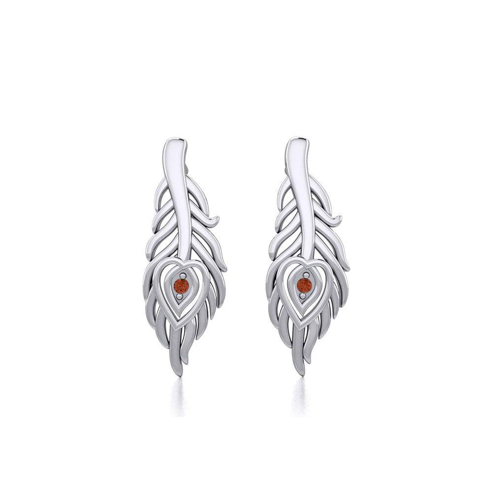 Peacock Tail Silver Post Earrings with Gemstone TER1916 peterstone.