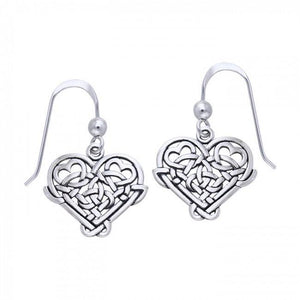 Cari Buziak Celtic Knotwork Silver Heart Earrings TER245 peterstone.
